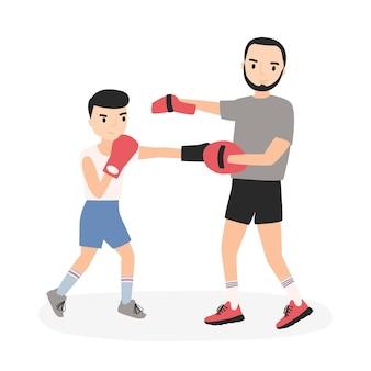 Vader en zoon gekleed in sportkleding oefenen stoten op bokstraining. ouder en kind die sportactiviteiten uitvoeren. stripfiguren geïsoleerd op een witte achtergrond. platte vectorillustratie.