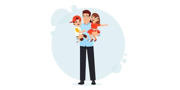 Vader en zoon in de armen. gelukkige vaderdag. gelukkige kinderen brengen tijd door met hun vader