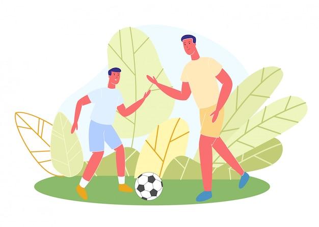 Vader en zoon in sportkleding spelen voetbal park.
