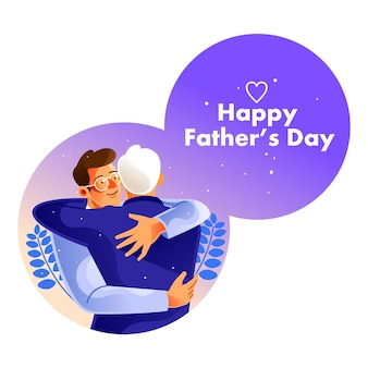 Vader en zoon knuffelen op vaderdag