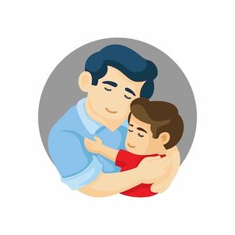 Vader en zoon knuffelen. vaderdagkaart over vaders liefde en zorg vectorillustratie
