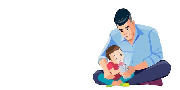 Vader en zoon nemen selfie schattige cartoon geïsoleerde illustratie scène