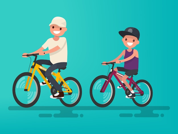 Vader en zoon paardrijden fietsen illustratie