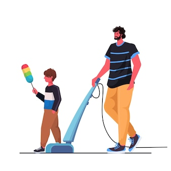 Vader en zoon plezier tijdens het schoonmaken ouderschap vaderschap vriendelijke familie concept vader tijd doorbrengen met zijn kind volledige lengte