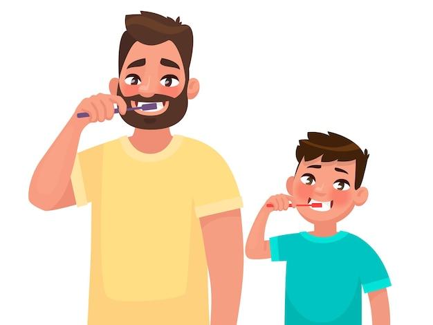 Vader en zoon poetsen hun tanden met tandpasta. mondhygiëne. in cartoon-stijl