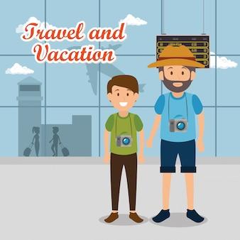 Vader en zoon reizigers in de luchthaven karakters