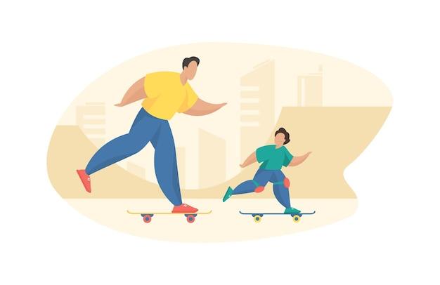 Vader en zoon rijden skateboard in het park. energieke man snelt bord met rollen samen met vrolijke jongen in beschermende kniebeschermers