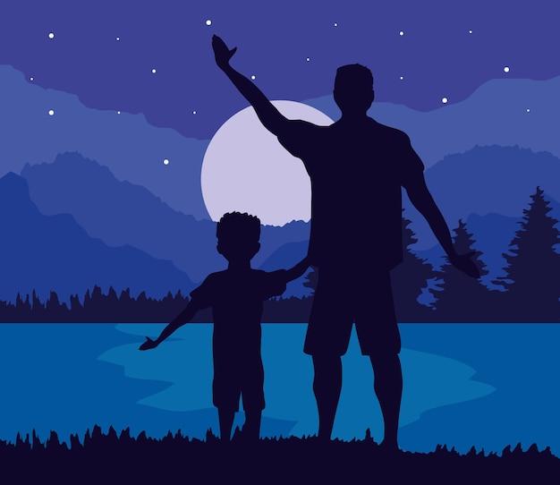 Vader en zoon 's nachts