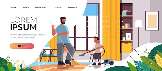 Vader en zoon schoonmaken woonkamer samen ouderschap vaderschap vriendelijke familie concept vader tijd doorbrengen met zijn kind volledige lengte horizontale kopie ruimte vectorillustratie