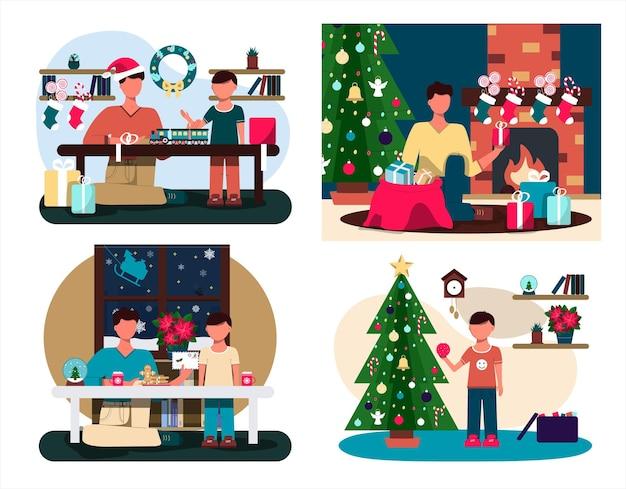 Vader en zoon schrijven een brief aan de kerstman platte illustratie van een kerstkaart gezellig interieur met...