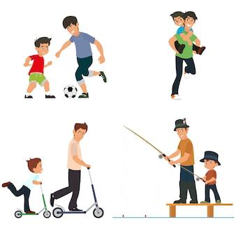 Vader en zoon spelen, vissen, jagen de bal en rijden op een scooter.
