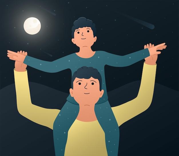 Vader en zoon vectorillustratie van een gelukkige vader met zijn zoon zittend op zijn schouders en kijken naar de nachtelijke sterrenhemel en starfall stargazing concept