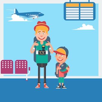 Vader en zoon wachten tot vertrek naar de vakantie op de luchthaven. vector illustratie