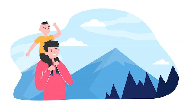 Vader en zoon wandelen in de bergen