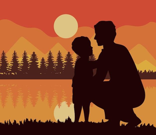 Vader en zoon zonsondergangscène