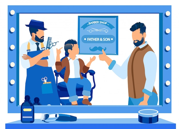 Vader en zoontje in barbershop, gelukkige familie