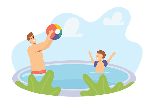 Vader en zoontje spelen in het zwembad spatten en gooien strandbal. happy family-personages op vakantie
