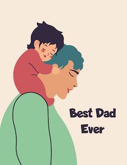 Vader en zoontje zittend op zijn schouders met belettering beste vader ooit. platte briefkaart voor vaderdag. wenskaart met tekst