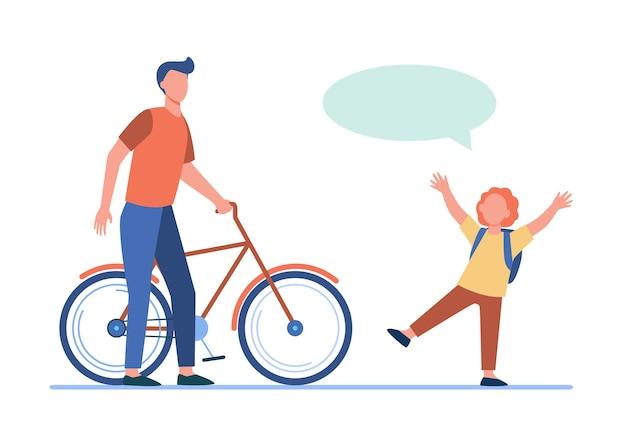 Vader geeft fiets aan vrolijke zoon. roodharige jongen, tekstballon, fiets platte vectorillustratie. activiteit, jeugd, familieconcept