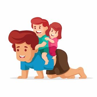 Vader geeft zijn zoon en haar dochter rijden op zijn rug. gelukkige vaders dag illustratie vector