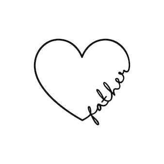 Vader - kalligrafiewoord met hand getrokken hart