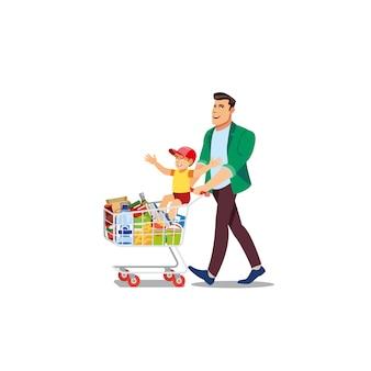 Vader kopen voedsel met zoon cartoon vector