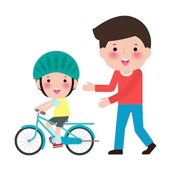 Vader leert zoon fietsen. kind leert fietsen. ouderschap de eerste fiets. illustratie op wit wordt geïsoleerd.