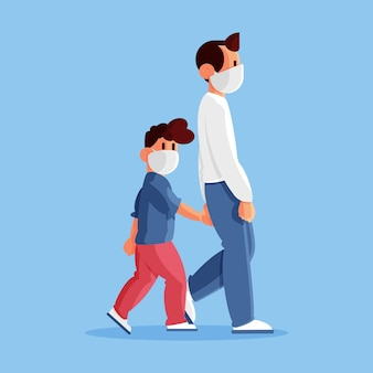 Vader lopend kind met medisch masker