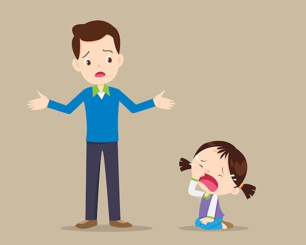 Vader maakt zich zorgen over zijn huilende dochter. huilend meisje en vader hebben een zorgprobleem
