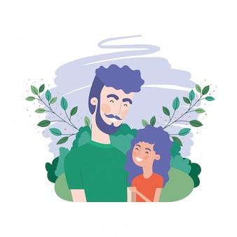 Vader met dochter avatar karakter