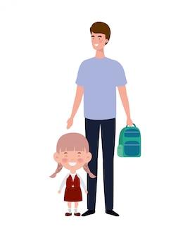 Vader met dochter van terug naar school