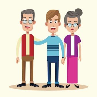 Vader met grootvader en grootmoeder relatie