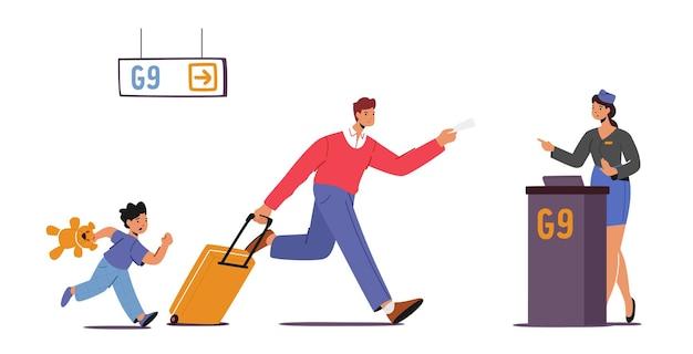 Vader met kind laat voor het instappen in het vliegtuig. bezorgde man en jongen rennen met tassen naar poorten van streek door gemiste vlucht