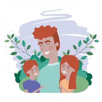Vader met kinderen avatar karakter