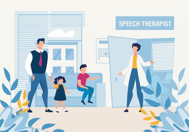 Vader met kinderen bij speech therapist consultation