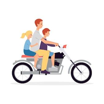 Vader met kinderen stripfiguren rijden op een motorfiets