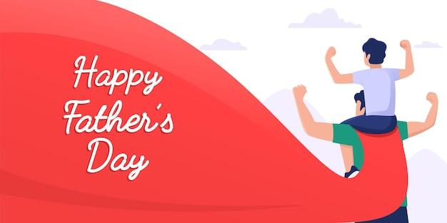 Vader met superheldenkostuum draagt zoon op zijn schouder en balde zijn handen omhoog happy fathers day