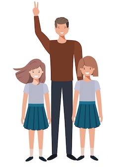 Vader met zijn kinderen avatar karakter