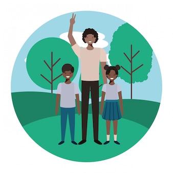 Vader met zijn kinderen in het landschap avatar karakter