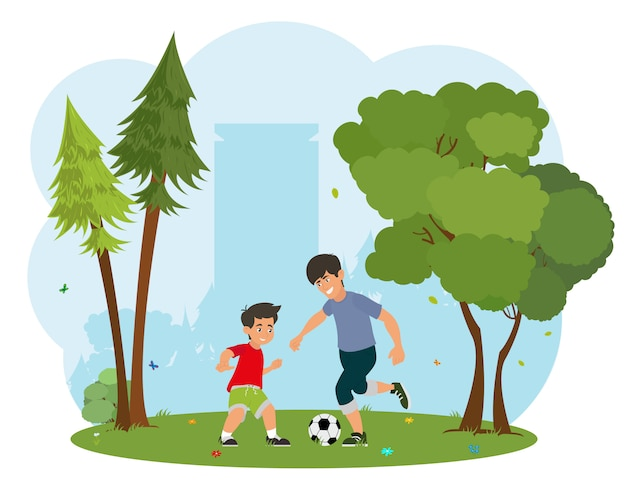 Vader met zijn zoontje voetballen.