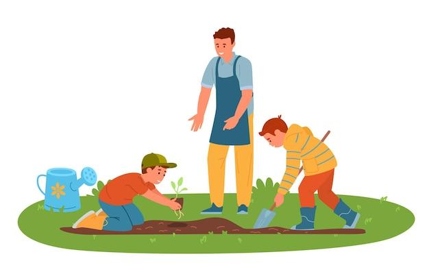 Vader met zonen buiten tuinieren zaailingen planten Premium Vector