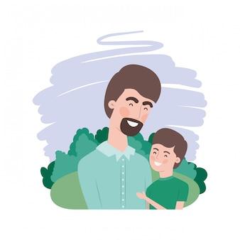 Vader met zoon avatar karakter