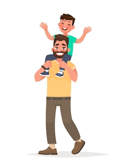 Vader met zoon op schouders op geïsoleerde achtergrond. vector illustratie in cartoon-stijl