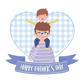 Vader met zoon op vaderdag