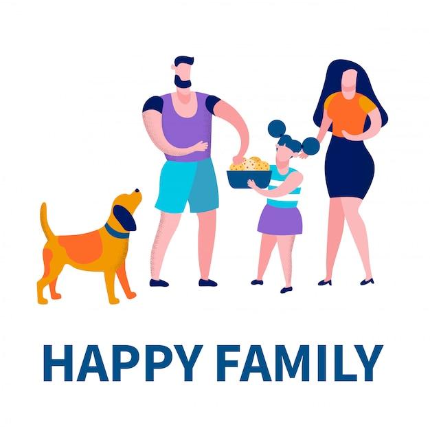 Vader, moeder, dochter en hond besteden tijd, liefde
