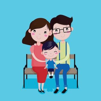 Vader, moeder en zoon blij om op de stoel te zitten