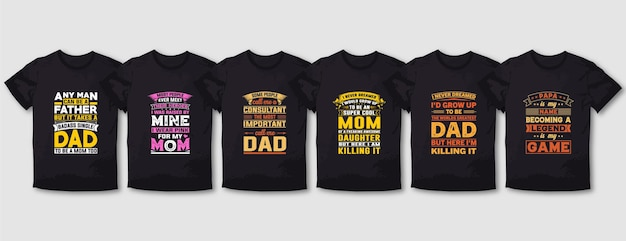 Vader papa moeder typografie t-shirt ontwerpset