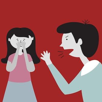 Vader schreeuwt dochter kindermishandeling