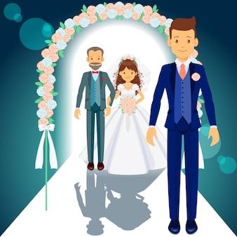 Vader van de bruid, bruid en bruidegom
