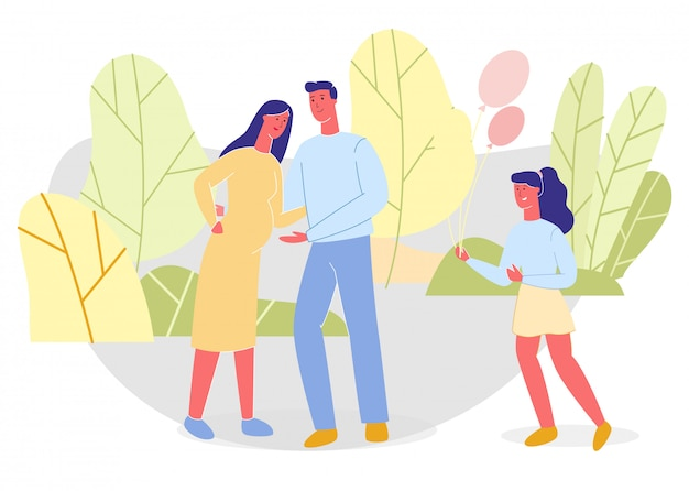 Vader, zwangere moeder en dochter in groen park
